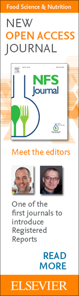 Banner advertisement for NFS Journal: The new open access journal published by the Society of Nutrition and Food Science